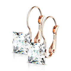 Princess Earrings in Rose Gold - Women's Square CZ with Lever Back Stainless Steel Rose Gold IP Plated Earrings