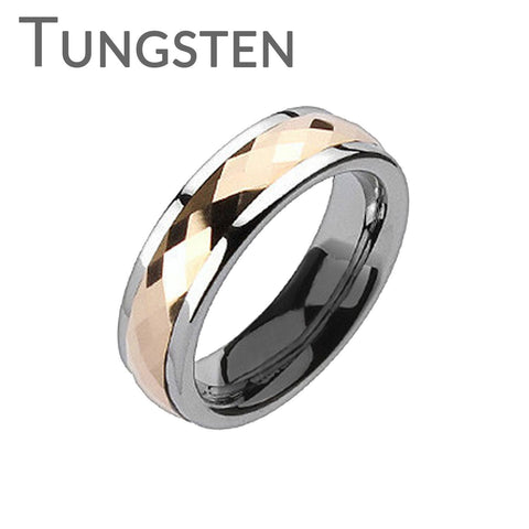 Rose Gold Tungsten Spinner - Feel Elegant While Looking Classy Silver and Rose Gold Tungsten Carbide Comfort Fit Spinner Ring
