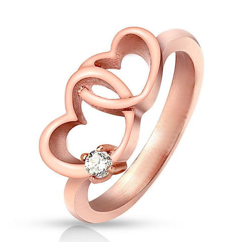 Rose Hearts - Single Clear CZ Stone with Rose Gold IP Stainless Steel Ring