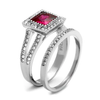 Ruby Wedding - Stainless Steel Ring With Clear And Ruby Colored CZ Stones