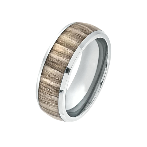 Rustico - Men's High Polished Domed Titanium Ring with Ashen Zebra Rosewood Inlay