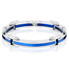 Calypso - Curved hinged link blue IP silver stainless steel bracelet with clasp
