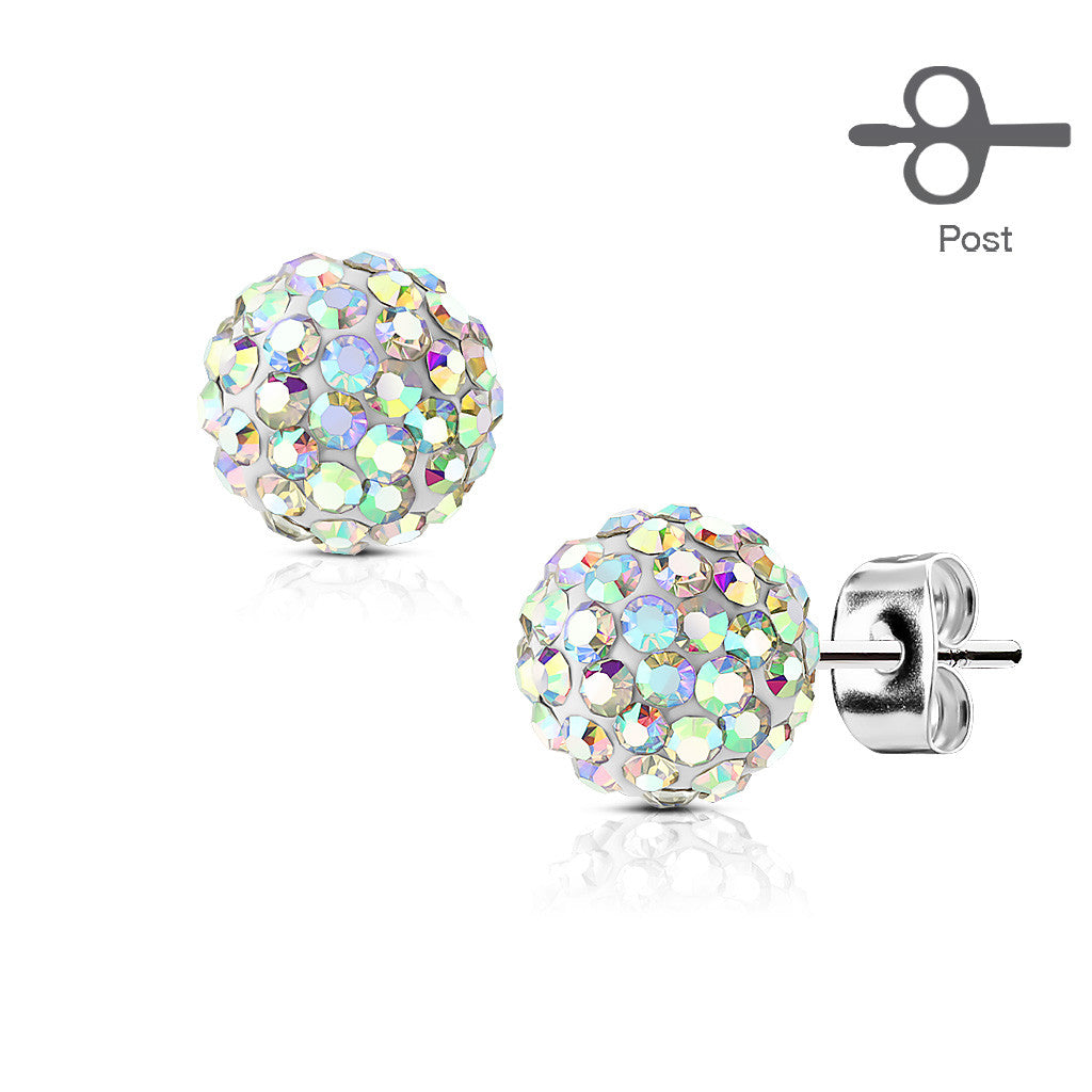 bonbon earring white gold crystal women titanium earrings