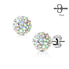 White Crystal Ball Earrings - Stainless Steel White Crystal Stud Earrings