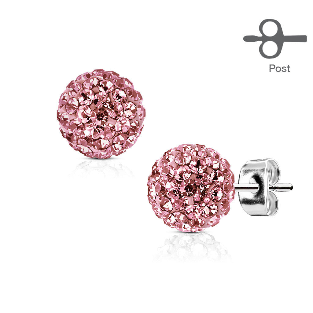 24a7850bb4e29 Pink Crystal Ball Earrings - Stainless Steel Pink Crystal Stud Earrings
