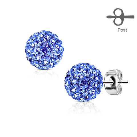 Blue Crystal Ball Earrings - Stainless Steel Blue Crystal Stud Earrings