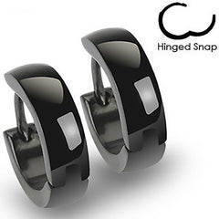 Black Beauty - Glossy Finished Hinged Hoop Black Stainless Steel Earrings