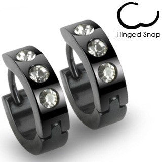 Cosmopolitan -Black Stainless Steel Hinged Hoop Type Comfortable Earrings with Clear Cubic Zirconias