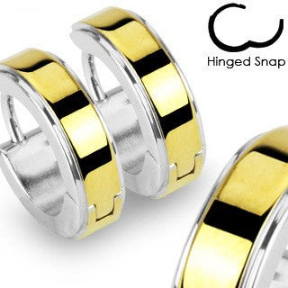 Midas Touch - Hinged Hoop Style Silver Anodized Gold Center Stainless Steel Earrings