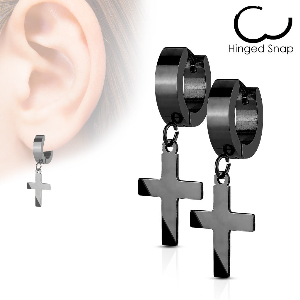 Faithful In Black - Latin Cross Design Stainless Steel Hinged Hoop Earrings