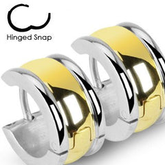 Eternal Love -  Romantic Pieces Of Work Hinged Wide Hoop Gold Plate Center Stainless Steel Earrings