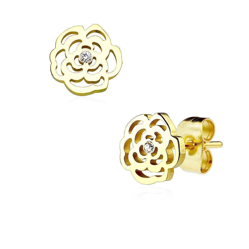 Gold Rose Blossoms - Gold IP Stainless Steel Rose Shaped Stud Earrings