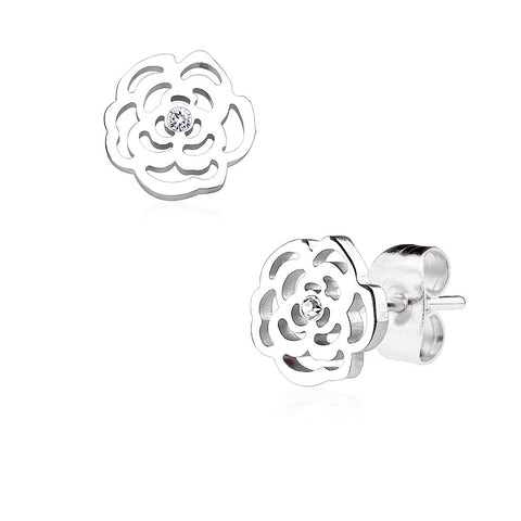 Silver Rose Blossoms - Stainless Steel Rose Shaped Stud Earrings