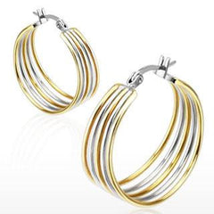 Cinco - Duo Toned Five Rings Hinged Hoop Silver and Gold Stainless Steel Earrings