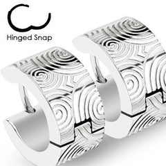 Hypnotized– Industrial brushed steel with engraved spiral design surgical stainless steel hinged hoop earrings