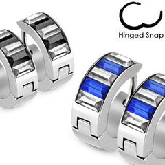 Blue Magnetism - Classy Style Stainless Steel Hinged Hoop Type Earrings with Blue and Clear Cubic Zirconias
