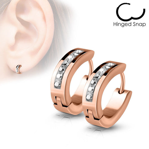 Rose Golden Delight - Stainless Steel Rose Gold Ion Plated CZ Earrings