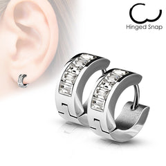 Pop of Crystal Huggie - Stainless Steel Square Gem Huggie Earrings