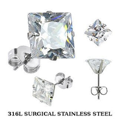Evangeline - Classic Design Stainless Steel Earrings with Square Cut Cubic Zirconias