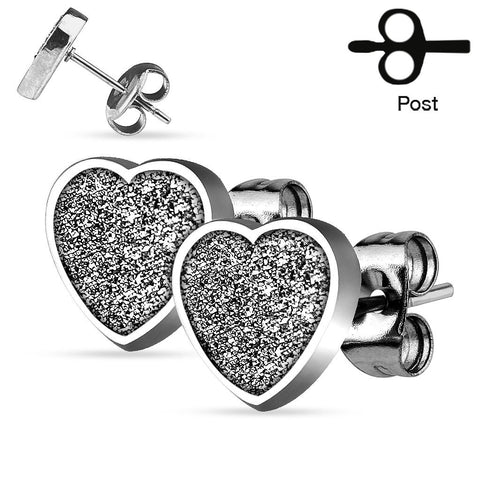Glitter And Hearts - Stainless Steel Heart Shaped Glitter Earrings