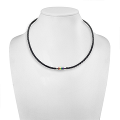 Unified - Black Braided Leather Necklace with Magnetic Rainbow Striped Closure