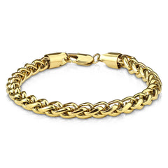 Gold Spiga Chain Bracelet - Round Stainless Steel Gold Ion Plated Spiga Detailed Men's Bracelet