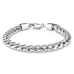 Silver Spiga Chain Bracelet - Round Stainless Steel Spiga Detailed Men's Bracelet