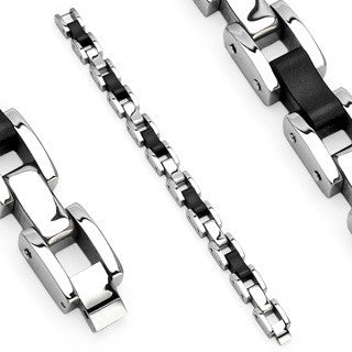 Industry - Classy Silver and Black Stainless Steel and Hard Rubber Combination Bracelet