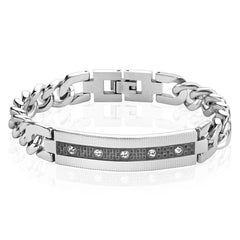Checkered In Style 12mm - Stainless Steel Bracelet With CZ Stones and Checkered Black IP Center