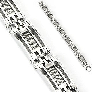 Cable Car - Antiqued Twisted Center Cables Design Stainless Steel Bracelet