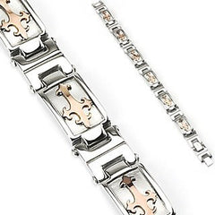 Cardinale Bracelet - Unique Stainless Steel Bracelet with Copper Colored Templar Crosses