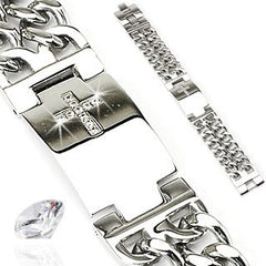 Faith In Me - Complete and Perfect with Gem Paved Cross Plate and Double Chains On Each Side Stainless Steel Bracelet with CZ