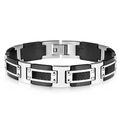 True Gentleman - Stainless Steel And Black Carbon Fiber Two-Tone Men's Bracelet