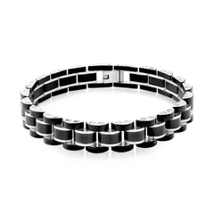 Refined - Black IP and Stainless Steel Link Bracelet