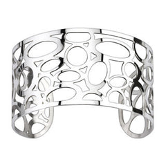 Bubble Tea - Cut out bubble patterned polished silver stainless steel cuff bracelet