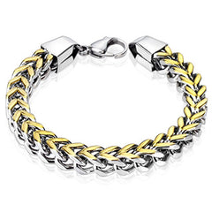 Aureate - Men's Stainless Steel And Gold IP Square Box Chain Bracelet