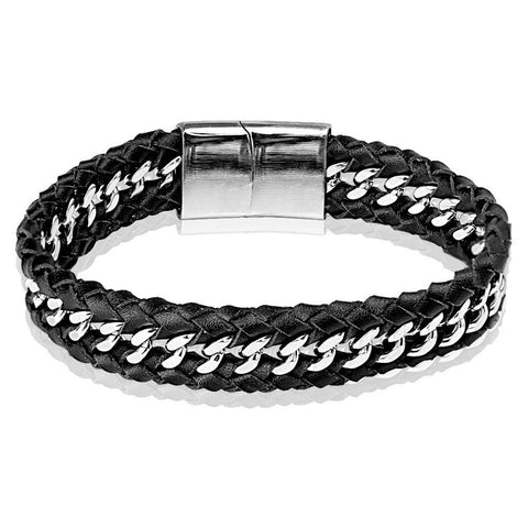 Leather And Shine - Steel Chain Centered by a Leather Bracelet with Large Engravable Clasp