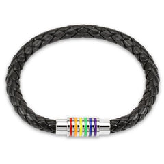 Unity– Black leather braided bracelet stainless steel with pride rainbow chakra colors on magnetic clasp