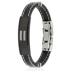 Equality– Equal symbol black rubber and stainless steel ID bracelet with white stitching