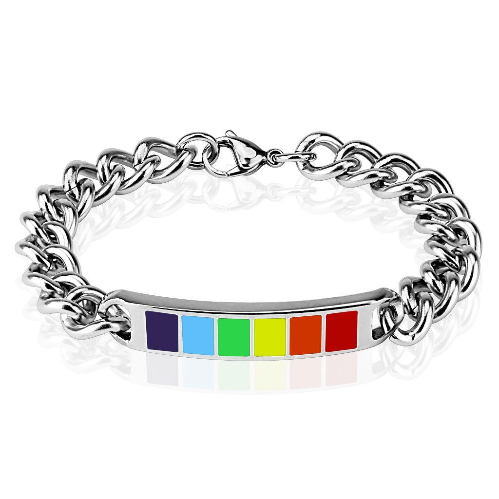 Strength in pride stainless steel chain bracelet with a for Stainless steel jewelry durability