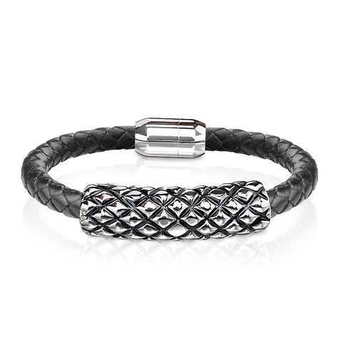 Tenacious - Men's Black Leather Bracelet With Scaled Design And Stainless Steel Magnetic Clasp