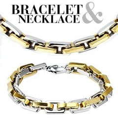 The Champion Set - Solidly Interlocking links Gold and Stainless Steel Bracelet and Necklace Set