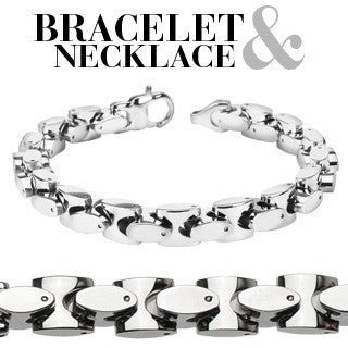 Uptown Set – Polished silver stainless steel oval in square link necklace and bracelet set  N25-B49