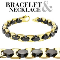 Manhattan After Dark Set – Black IP and gold IP stainless steel two-tone oval in square link necklace and bracelet set N4-B60