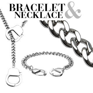 Under Arrest Set - Fun novelty silver stainless steel handcuff design necklace and bracelet set  N9-B23