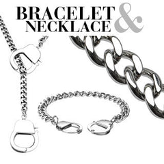 Under Arrest Set – Fun novelty silver stainless steel handcuff design necklace and bracelet set  N9-B23