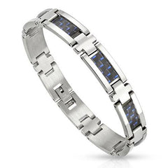 Blue Checkers Bracelet - Stainless Steel Carbon Fiber Link Bracelet