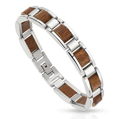 Metal Wood - Stainless Steel Framed Bracelet With Wood Center