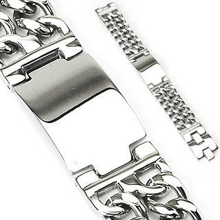 Silver Nova - Engraving Plate and Double Chains Stainless Steel Bold Bracelet
