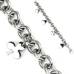Card Shark Charm Bracelet - Round Pieces Of Stainless Steel Makes Our Beautiful Bracelet with Four Charms